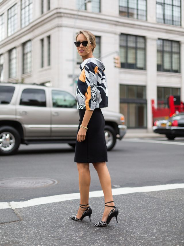 c+black+pencil+skirt+mod+graphic+anthropologie+enlarged+floral+blown+up+black+white+yellow+silk+cowl+neck+blouse+top+helene+berman+fuzzy+black+collarless+coat+reiss+snow+leopard+ankle+strap+heels+striped+tory+burch+handbag+fashion+style+blog.jpg (640×854)