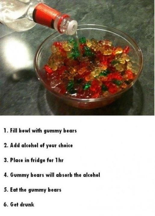 Instead of the hassle to get the proper supplies for making jello shots, try this concoction! Alcohol Gummy Bears-want to try with vodka and tequila.