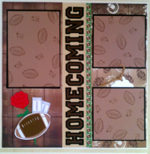 Football Homecoming 12x12 premade scrapbook layout by ohioscrapper, $15.00