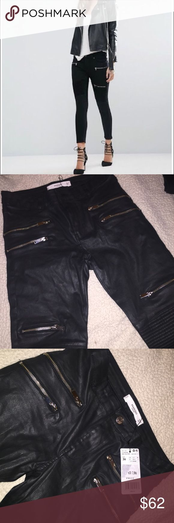 Mango zipper leather jeans Never worn with tags attached. Size EUR 36 and US 4. I'm unsure of the material but it's feels like a mix between denim and leather. Has a leather look to it. Mango Jeans Skinny