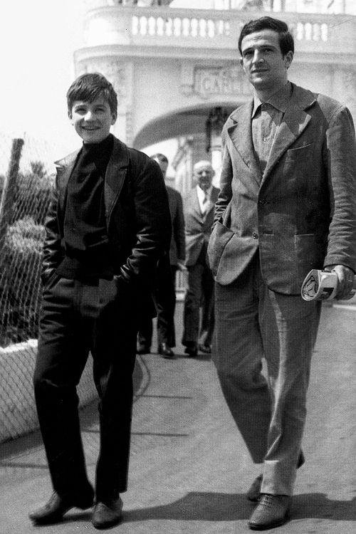 """Le jeune Jean-Pierre Léaud (""""Antoine Doinel"""") et François Truffaut à Cannes en 1966."""