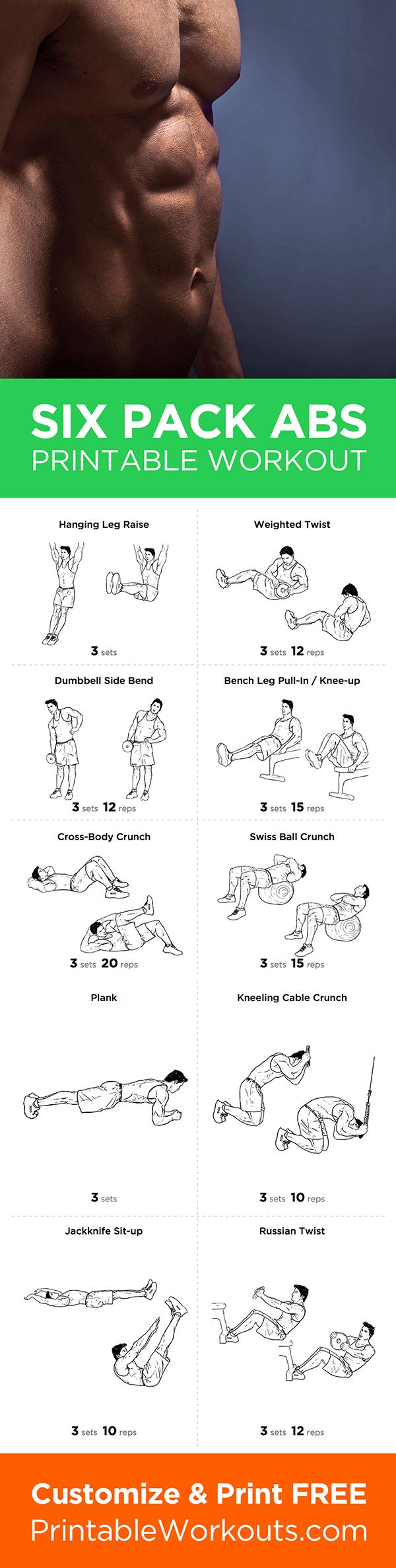 Get perfect six pack abs with this great all-around printable ab workout routine PDF from Printable Workouts – customize and print it now at http://printableworkouts.com/great-abdominal-workout-routine-for-six-pack-abs-printable-workout/