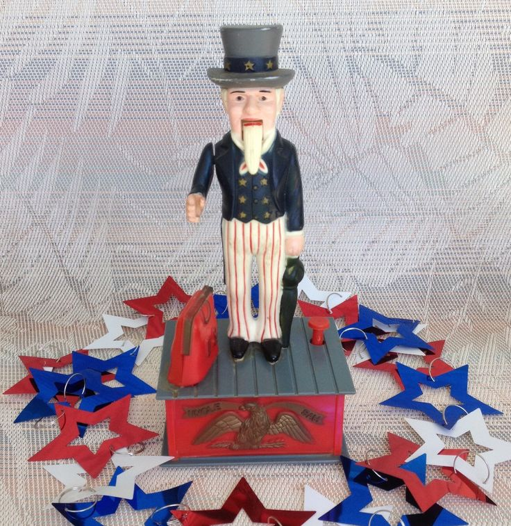 Vintage Uncle Sam Mechanical Coin Bank Plastic Savings Bank Moveable Arm Patriotic Home Living by KarmaKollectibles on Etsy https://www.etsy.com/listing/278277494/vintage-uncle-sam-mechanical-coin-bank