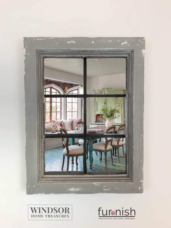 Window Mirror Grey Mirror Painted Mirror Shabby Chic Mirror Vintage Window Mirror Upcycled Window Vintage Mirror Leaded Light Window Mirror Shabby Chic Mirror Mirror Painting