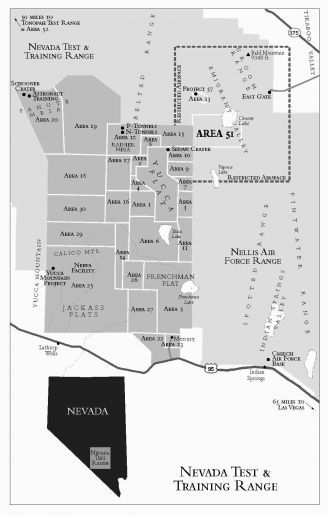 The Nevada Test and Training Range, a federally restricted land parcel slightly smaller than the state of Connecticut. Area 51 and the Nevada Test Site are located inside.