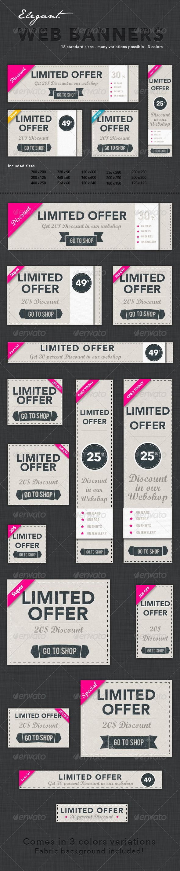 Elegant Web Banners — Photoshop PSD #retro #pink • Available here → https://graphicriver.net/item/elegant-web-banners/3449525?ref=pxcr