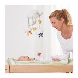 IKEA - HIMMELSK, Mobile, , Maybe your child has difficulty falling asleep, maybe they wake up early? Then it can feel good to have three little friends looking down from the clouds and stars.The figures face downwards to meet the child's upward gaze and the various designs in bright colors stimulate your baby's senses and movements.