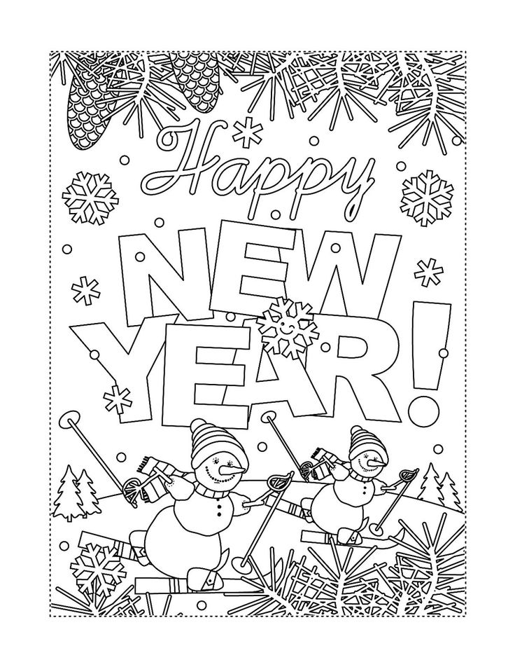 New Year & January Coloring Pages Printable Fun to Help