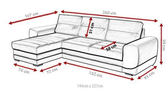 Medidas de sofá chaise longue cama - Cayman | Muebles de ...