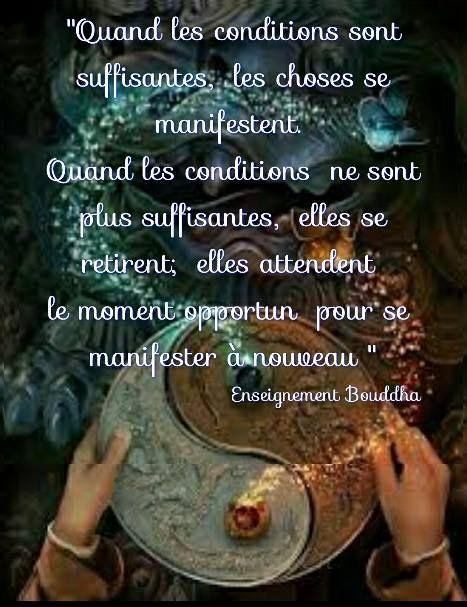 ☀Quand les conditions sont suffisantes les choses se manifestent. Et quand les conditions ne sont pas suffisantes, elles se retirent. Elles attendent le moment opportun pour se manifester de nouveau.☀ Enseignement de Bouddha.