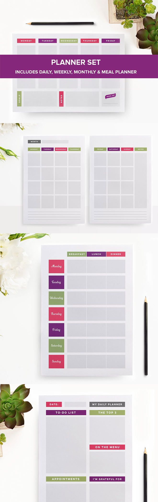 Get organised with this printable planner set, including: meal planner, daily planner, weekly planner, and monthly planner