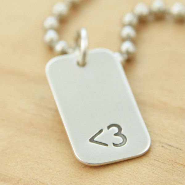 Less Than Three ( Heart ) Emoticon Unisex Dogtag Sterling Silver Charm... ($25) ❤ liked on Polyvore featuring jewelry, pendants, necklaces, heart charm, charm jewelry, military charms, sterling silver pendant charms and dog tag pendant