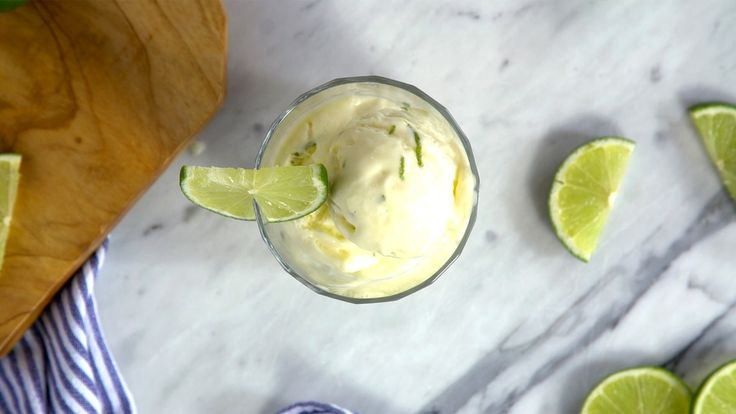 Recipe with video instructions: When life gives you limes, turn them into a creamy frozen treat. Ingredients: Juice of 6 limes, 2 Tbsp butter, 2 eggs, 1 cup sugar, 2 cups heavy cream, Zest of 2 limes