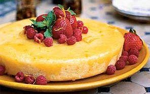 DUKAN ORANGE YOGHURT CAKE  Serves 2  3 eggs  150g (5½ oz) fat-free natural yoghurt  ½ tsp sweetener  1 tsp orange extract  4 tbsp cornflour  2 tsp yeast  3 drops of oil  Preheat the oven to 180c/350f/gas 4. Beat the eggs with the yoghurt, add the sweetener, orange extract, cornflour and yeast. Pour into an oiled cake tin and bake for 45 minutes.