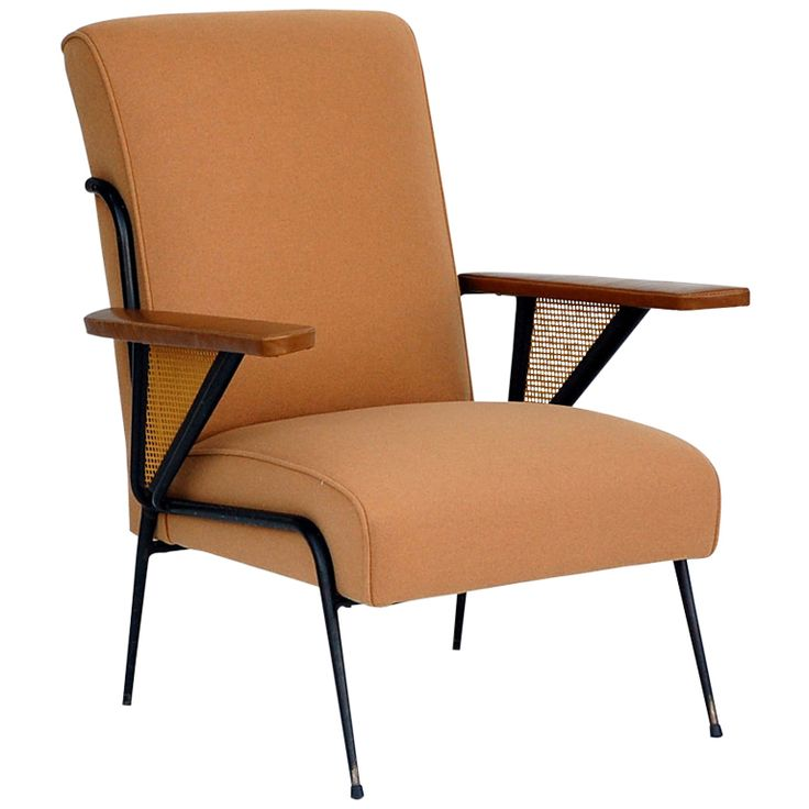 exceptional french 1950s flannel and leather armchair cane armchairmid century