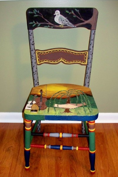 """handpainted and upcycled chair created with the old Carter Family song, """"Hello Stranger"""" as the theme"""