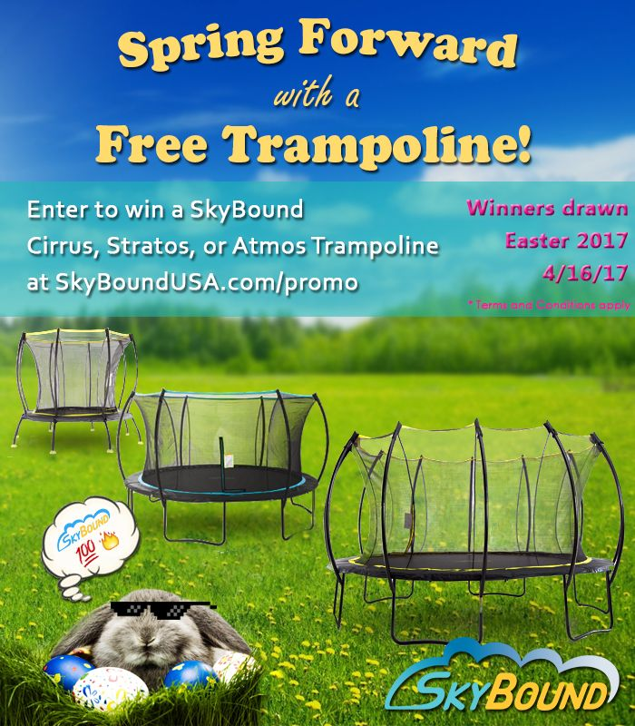 Help me win a new SkyBound Trampoline by entering their free contest here! Contest ends on Easter 2017. Please note your information will remain confidential and will not be shared or sold to any 3rd party vendors.