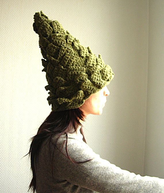 Pine cone crocheted hat by anasousa on Etsy: Crochet Hats, Pin Crocheted Hat Bonnet, Crocheted Hats, Pincrocheted Hat Bonnet, Cone Crocheted, Crochet Knits Hats