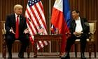"Trump hails 'great relationship' with Philippines' Duterte    US president offers no public rebuke of Rodrigo Duterte's brutal drugs crackdown as he nears end of 12-day Asia tourDonald Trump has hailed his ""great relationship"" with the Philippines' presi   https://www.theguardian.com/us-news/2017/nov/13/trump-hails-great-relationship-with-philippines-duterte"