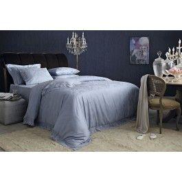 Lenjerie de pat de lux din bumbac egiptean si dantela Valeron Acasia albastru