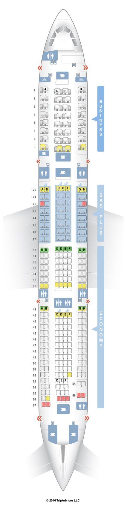 SeatGuru Seat Map SAS Airbus A330-300 (333)