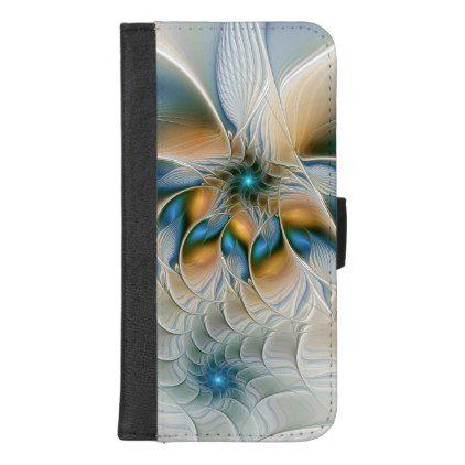 Soaring Abstract Fantasy Fractal Art With Blue iPhone 8/7 Plus Wallet Case - modern style idea design custom idea