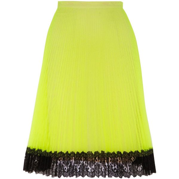 Christopher Kane Lace-trimmed neon tulle skirt ($454) ❤ liked on Polyvore featuring skirts, bright yellow, tulle skirt, knee length tulle skirt, lace trim skirt, neon skirt and neon yellow skirt