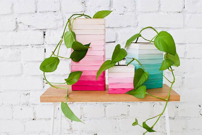 Use popsicle sticks to DIY these ombre planters.