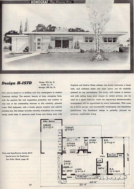 Homograph Prize Winning Home, Design H-157D: 1952 | Flickr - Photo Sharing! 2 Bed, 1 Bath, Garage