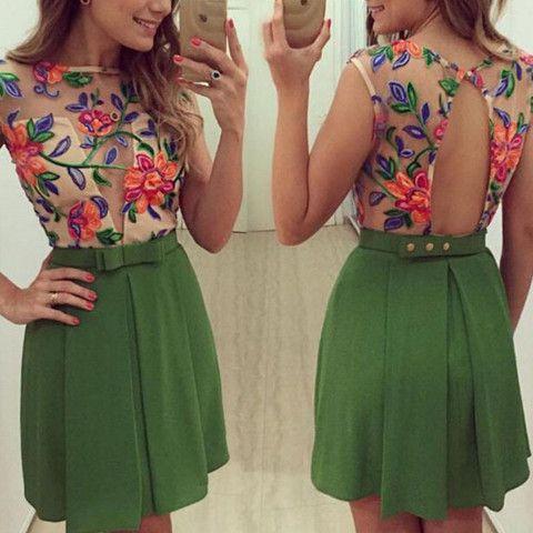 Floral Mesh Crochet Pleated Women Mini Dresss | Daisy Dress for Less | Women's Dresses & Accessories