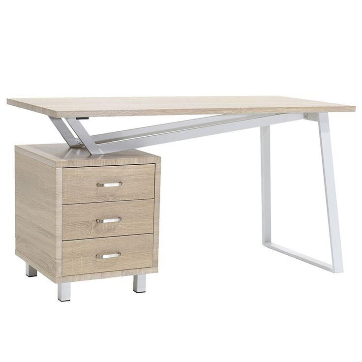 Metalic computer table Dolores MDF top light oak 140x60x76
