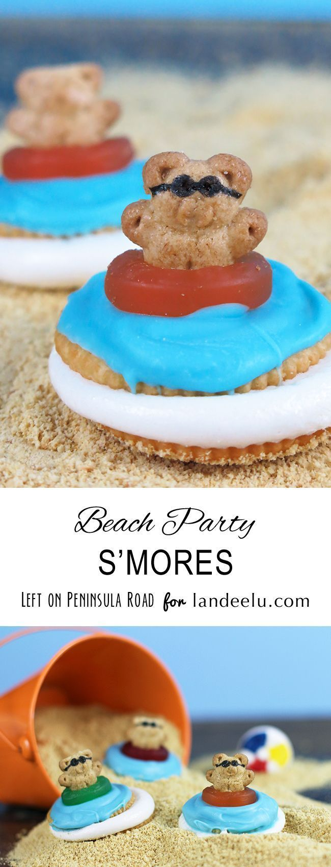 Teddy Grahams Beach Party S'mores. Easy summer Treats Recipe and fun food craft for the kids!