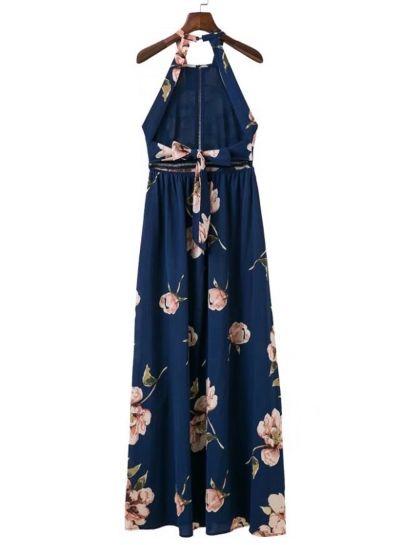 Bohemian Halter Backless Floral Printed Split Maxi Dress OASAP.com