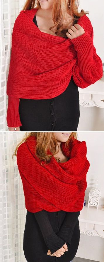 Knitted Scarf Neck Warmer with Sleeves {several ways to wear it}