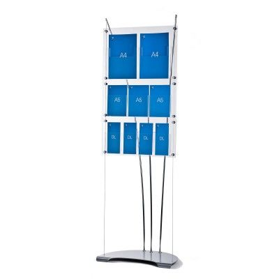 A4, A5, DL brochure display stand for displaying leaflets of different sizes on the same floor standing unit.