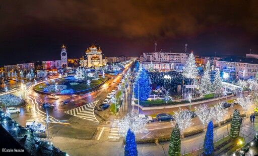 My town in Christmas lights