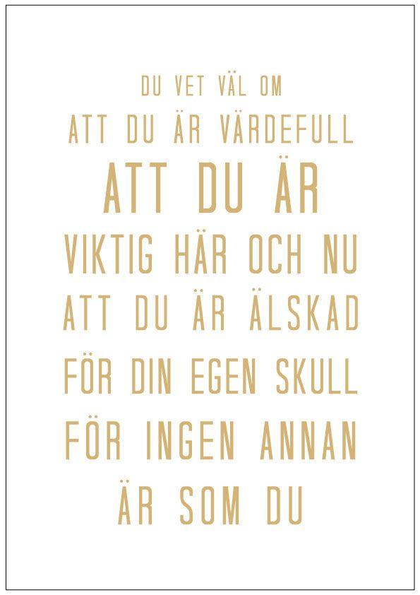 Poster - DU VET VÄL OM - Guld