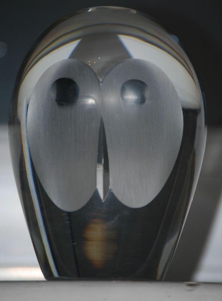 Vintage Royal Krona Scandinavian Glass Crystal Owl Paperweight Signed H.Dreutler in Pottery, Porcelain & Glass | eBay