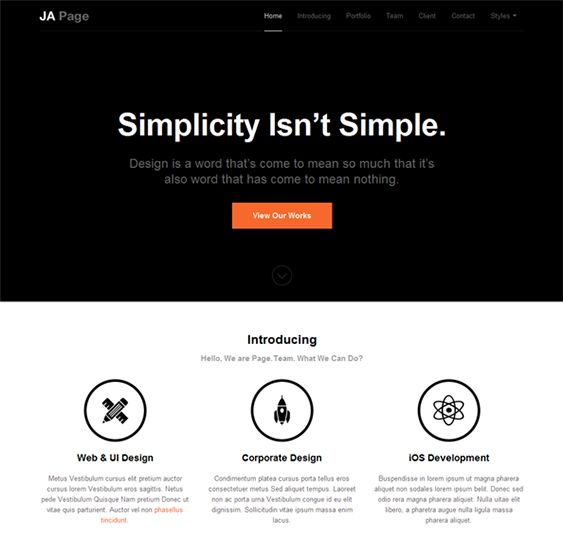 this one page joomla template features a minimal design an extension manager a quick