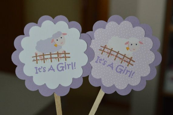Lamb Baby Shower Cupcake Toppers - Little Lamb Cupcake Toppers - Lamb Cupcake Toppers - It's a Girl - Lamb Baby Shower - Set of 12