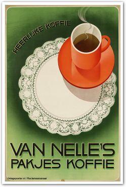 Reclame posters | 1928-1933 | Heerlijke koffie. Van Nelle's pakjes koffie | Vintageposter.nl | Vintage Posters