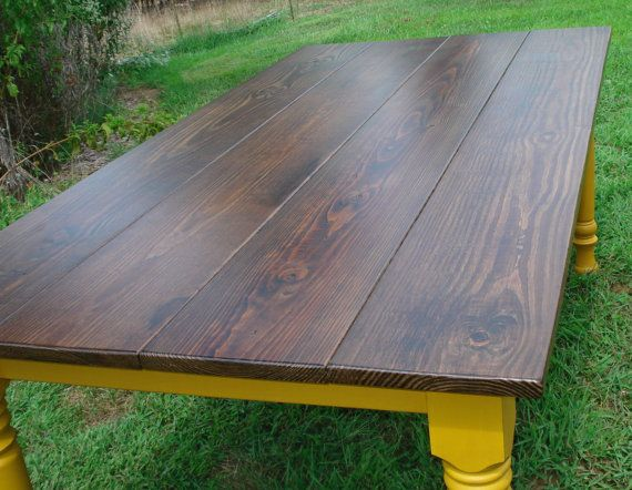 Dining table with blue/gray painted legs
