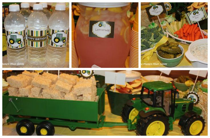 John Deere Tractor Party - Tons of food ideas, love the rice krispie hay bales in the tractor!