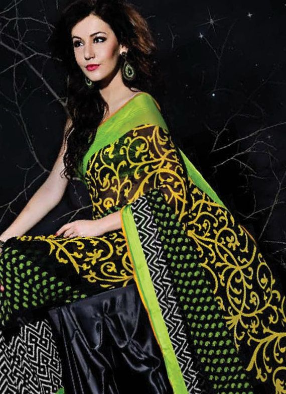 Black and Lime Green Printed Georgette Sari by SassySaris on Etsy, $60.00