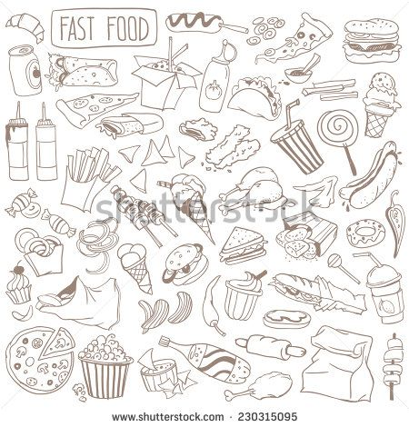 Set Of Various Doodles, Hand Drawn Rough Simple Fast Food Sketches. Ilustración vectorial en stock 230315095 : Shutterstock