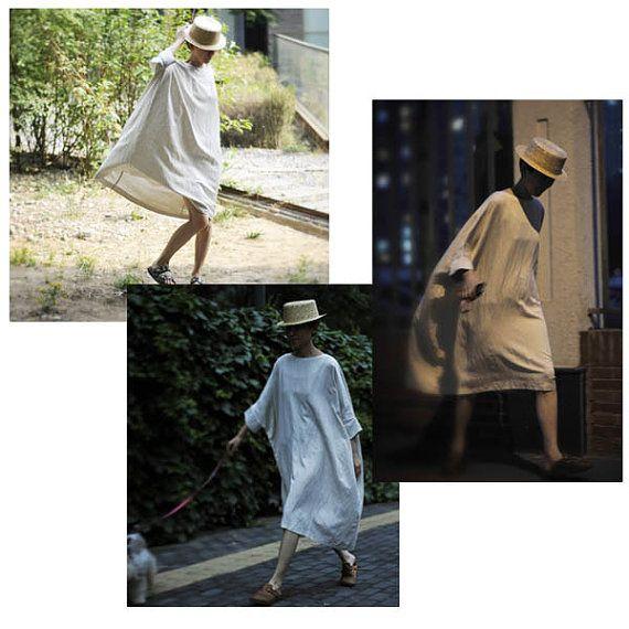 Linen Over Size Dress/ Plus Size Dress/Gown Dress/ Free size  (2301)