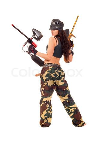 Hot naked paintball players