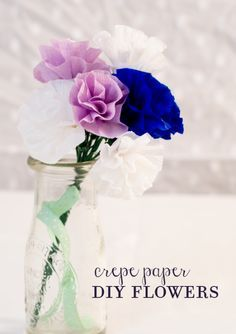 This is probably my favorite crepe paper flower craft for kids.  It's simple enough for little ones and makes reasonably pretty flowers.  For kids, I use regular colored tape instead of floral tape and pipe cleaners instead of floral wire.