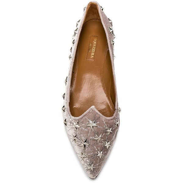 AQUAZZURA Cosmic Star-Embellished Velvet Flats ($795) ❤ liked on Polyvore featuring shoes, flats, aquazzura shoes, flat shoes, light grey shoes, flat pumps and planet shoes