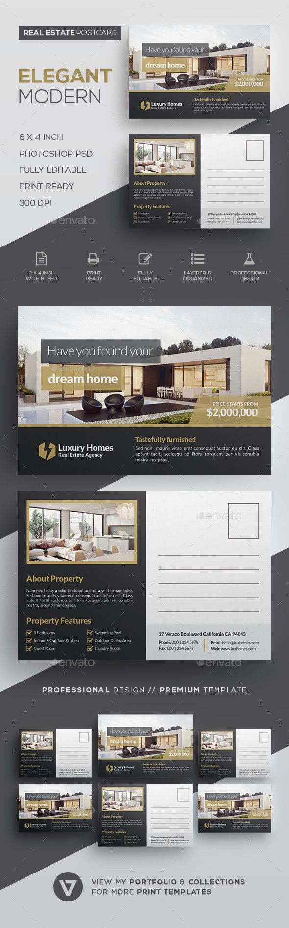 #Real Estate Postcard - #Cards & #Invites Print Templates Download here:  https://graphicriver.net/item/real-estate-postcard/20140461?ref=alena994